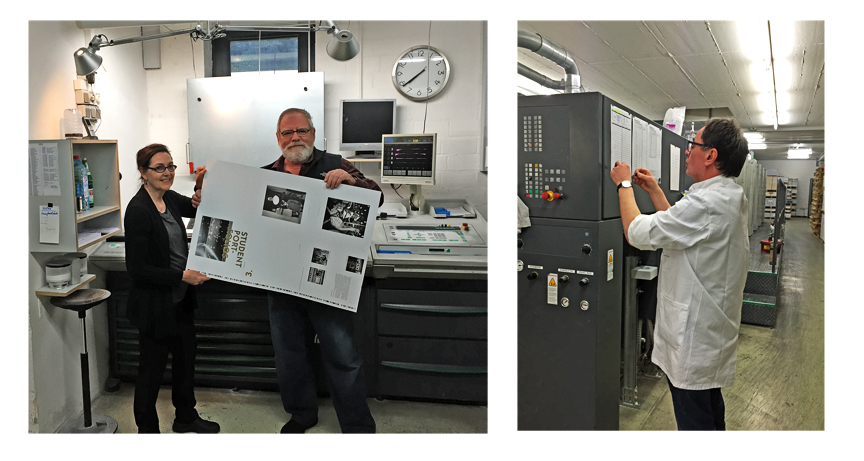 Ken & Victoria with 1st sheet of the book, Steidl taping up the specs for the printers.
