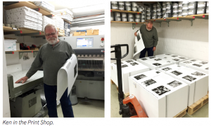 Ken inspecting sheets just off the press!
